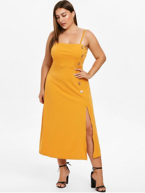 lady ZAFUL Cami Plus Size Midi Slit Dress - BEE YELLOW 3X