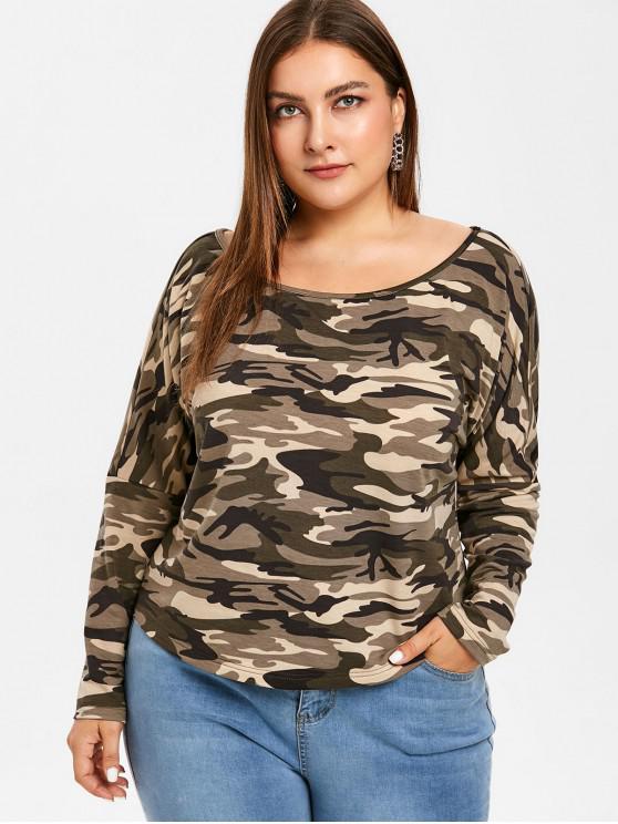 T-Shirt Plus Size Di Camouflage A Girocollo - Verde Mimetico 2X