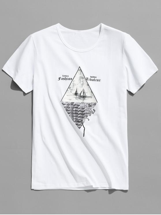 online Geometric Letters Printed Graphic T-shirt - WHITE L