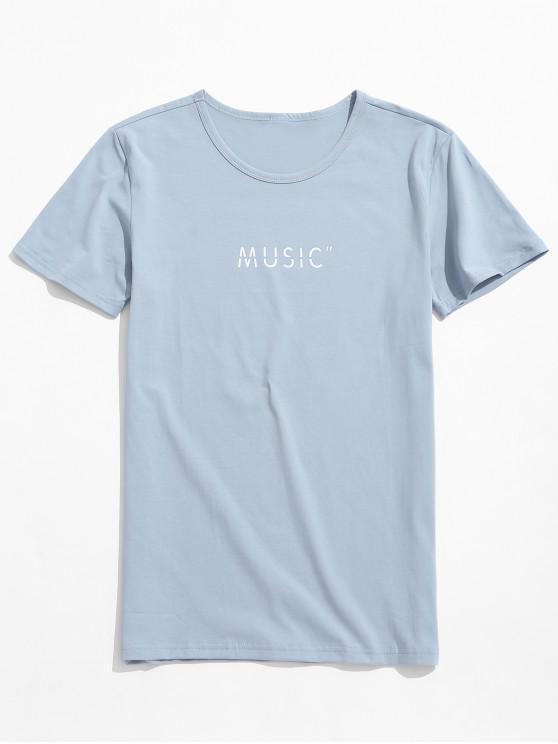 Camiseta de manga corta con estampado de letras de música - Azul Suave XS