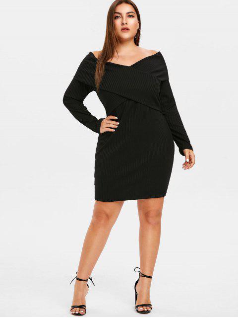 sale ZAFUL Plus Size Off Shoulder Overlap Dress - BLACK 4X Mobile