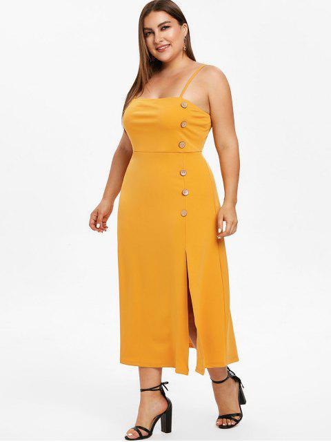 affordable ZAFUL Cami Plus Size Midi Slit Dress - BEE YELLOW 4X Mobile