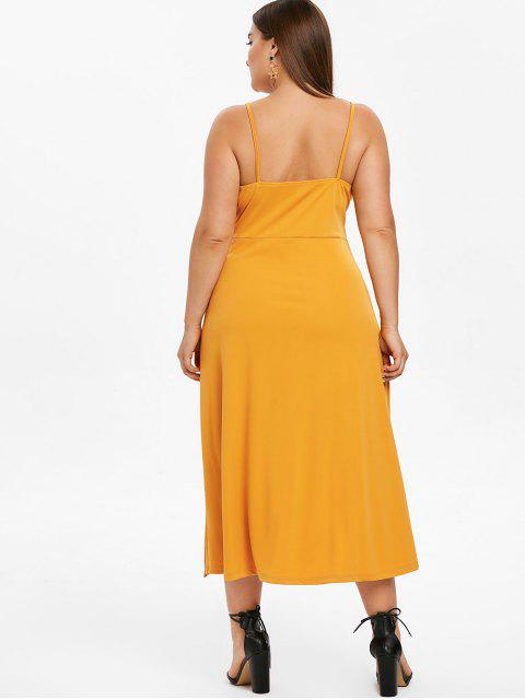 ladies ZAFUL Cami Plus Size Midi Slit Dress - BEE YELLOW 1X Mobile