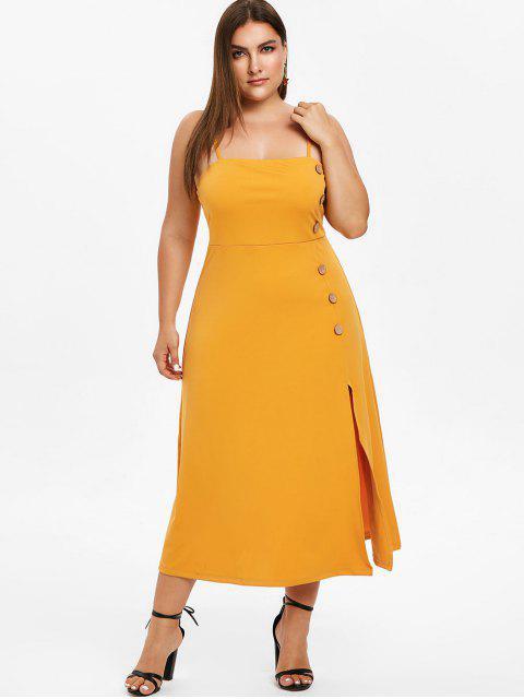 best ZAFUL Cami Plus Size Midi Slit Dress - BEE YELLOW L Mobile
