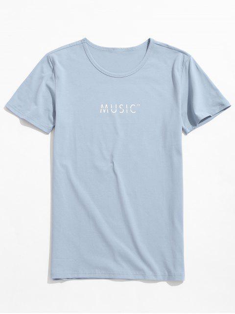 Camiseta de manga corta con estampado de letras de música - Azul Suave M Mobile
