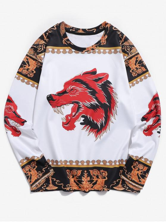 women's Wolf Ethnic 3D Print Long Sleeves Tee - MULTI 2XL