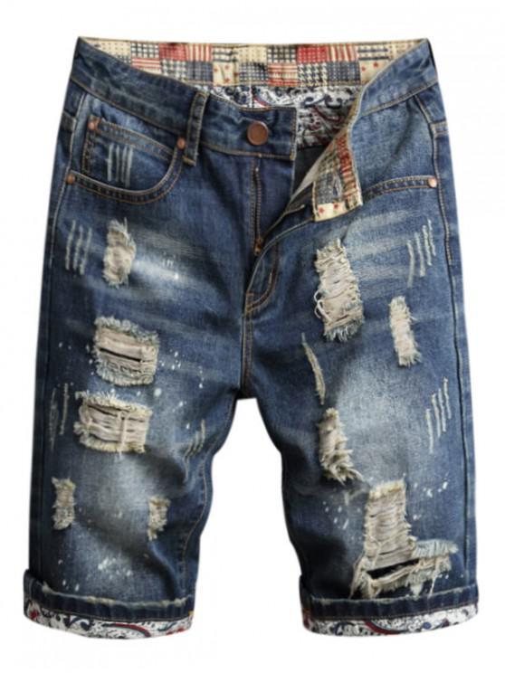unique Destroy Wash Casual Jean Shorts - BLUEBERRY BLUE 40