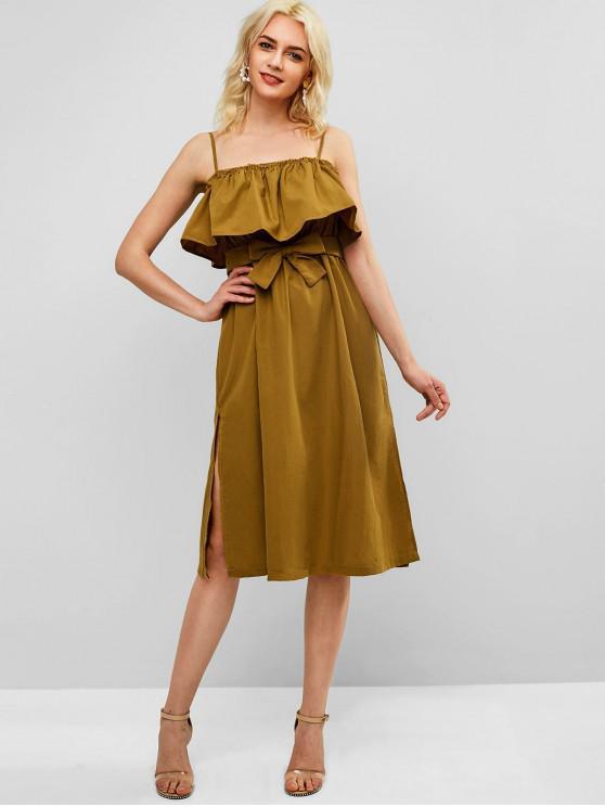 latest Split Hem Ruffle Overlay Midi Dress - MUSTARD L
