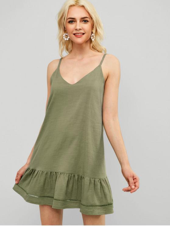 fashion ZAFUL Casual Ruffles Cami Dress - DARK SEA GREEN L
