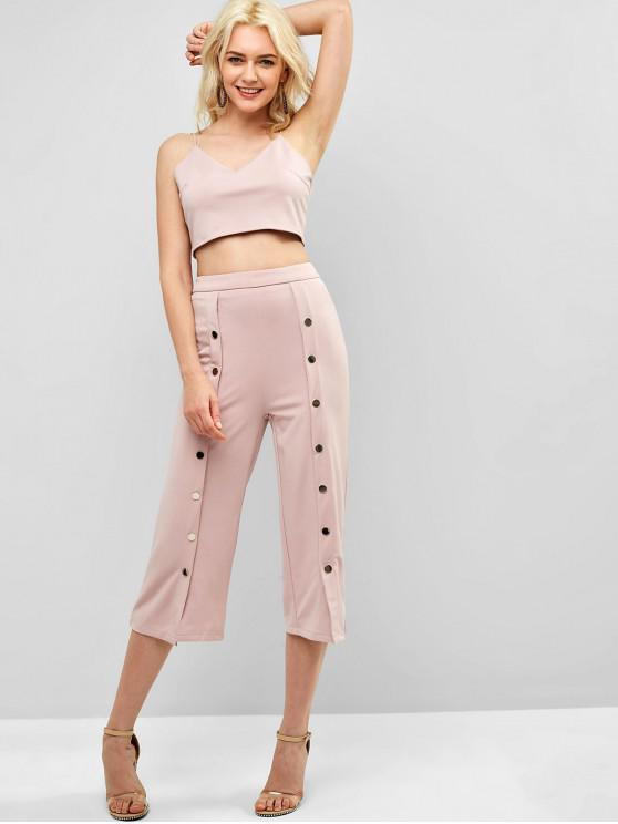 shops ZAFUL Crop Top High Waisted Pants Two Piece Set - LIGHT PINK S