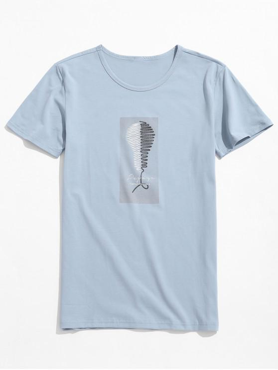 ladies Light Bulb Print Graphic Casual T-shirt - PASTEL BLUE L