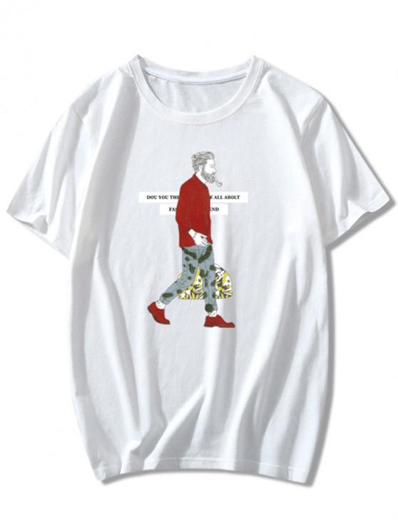 T-shirt Caractère Lettre Imprimées à Col Rond - Blanc M