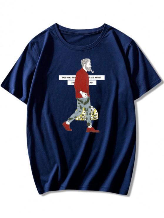 women Letters Character Print Crew Neck T-shirt - LAPIS BLUE 2XL