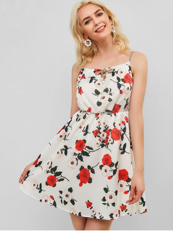Vestido Cami Estampado Floral Con Cuentas - Blanco L
