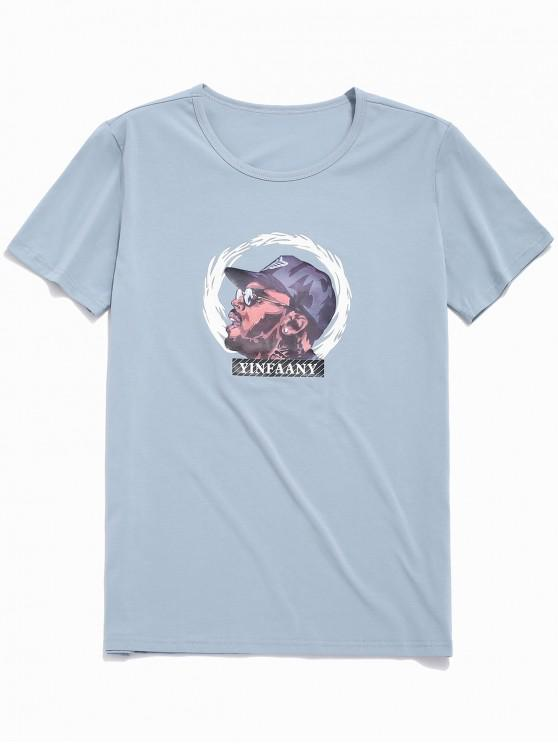 shops Character Graphic Print Casual T-shirt - PASTEL BLUE L