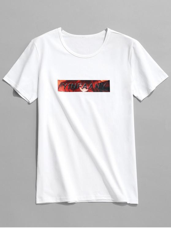 T-shirt Graphique Lettre Caractère Imprimés - Blanc L