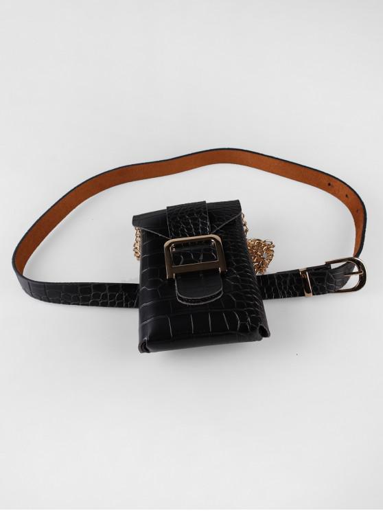 trendy Buckle Design Bag Decorated Belt - BLACK