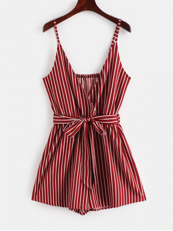 ladies ZAFUL Striped Surplice Cami Romper - FIREBRICK M