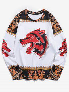 Wolf Ethnic 3D Print Long Sleeves Tee - Multi S