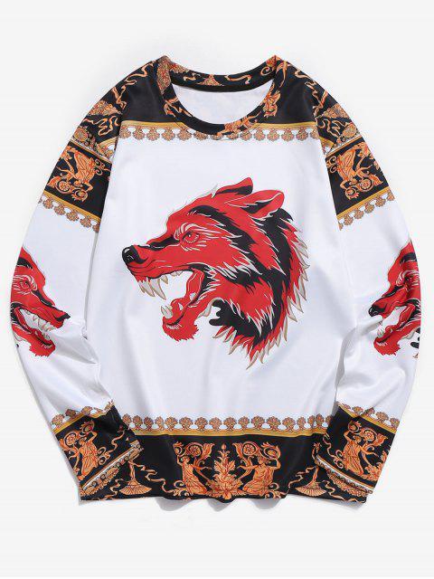 Camiseta de manga larga con estampado 3D étnico de Wolf - Multicolor S Mobile