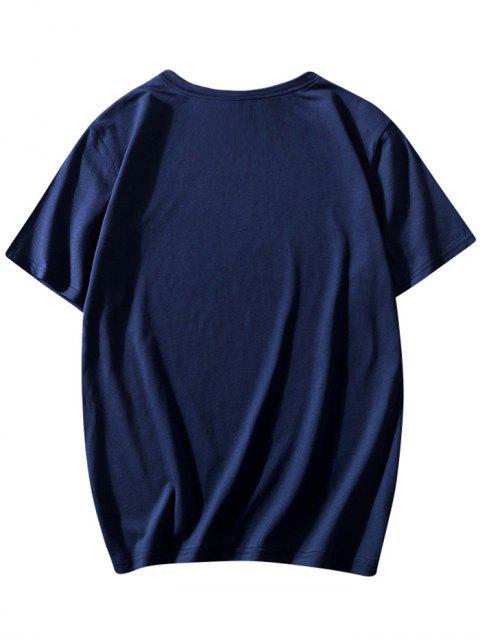 Buchstabe Character Druck Rundhals T-Shirt - Lapisblau 2XL Mobile