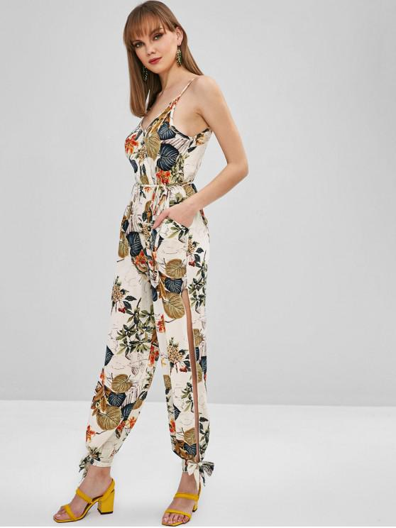 latest Mixed Print Split Tied Cami Jumpsuit - MULTI S