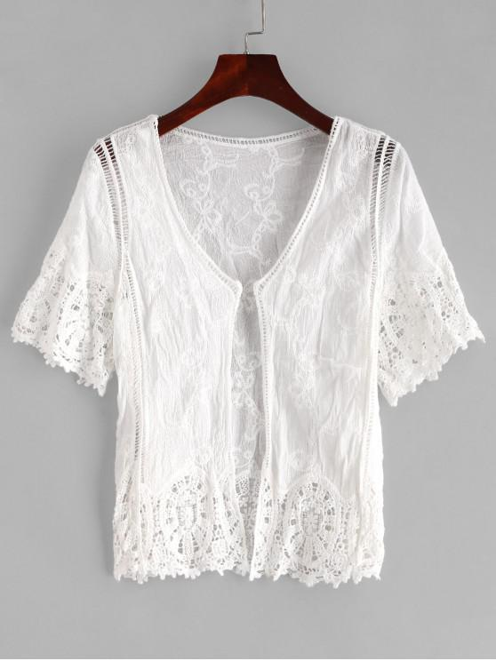 new Crochet Open Front Beach Cover Up - WHITE ONE SIZE