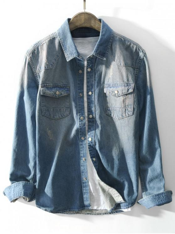 661d8ef487 46% OFF  2019 Snap Button Pocket Denim Shirt In DENIM BLUE S