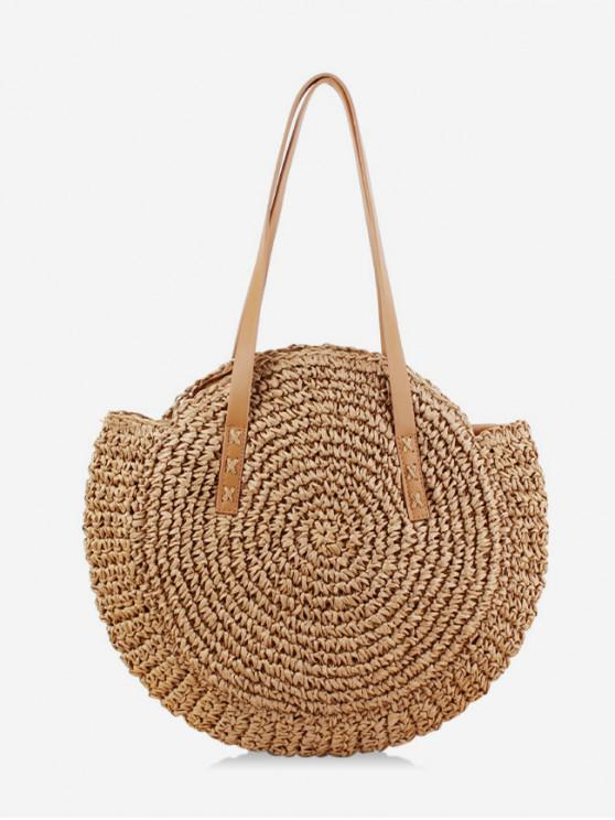 lady Round Beach Shoulder Straw Bag - LIGHT BROWN