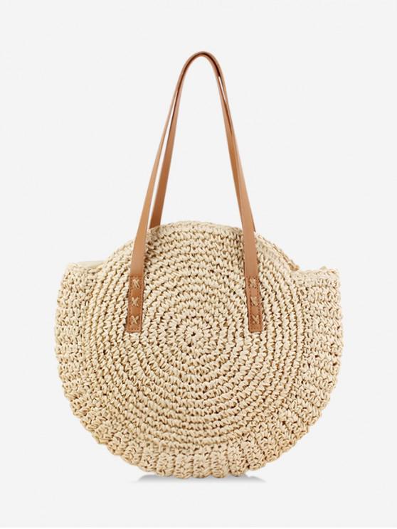 best Round Beach Shoulder Straw Bag - BEIGE