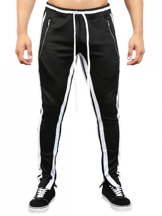 trendy Contrast Stripe Hem Zipper Track Pants - BLACK 2XL