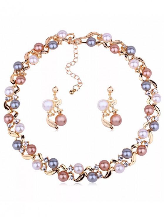 best Faux Pearl Necklace Earrings Set - GOLD