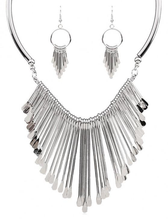 online Alloy Fringed Jewelry Set - SILVER