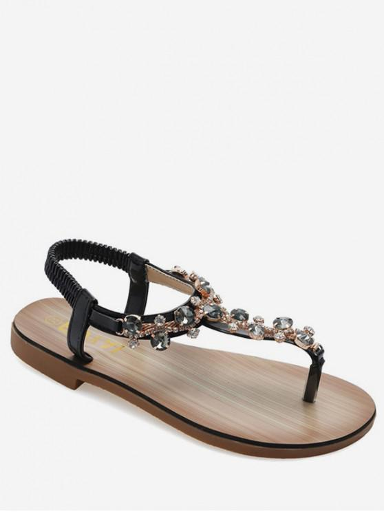 hot Rhinestone Decoration Toe clip Sandals - BLACK EU 40