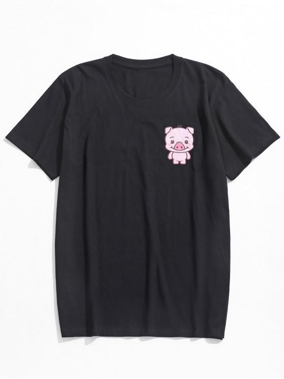 Brust-Cartoon-Schwein-Druck-beiläufiges T-Shirt - Schwarz L