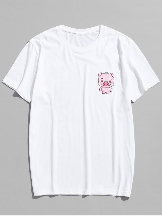 hot Chest Cartoon Pig Print Casual T-shirt - MILK WHITE L