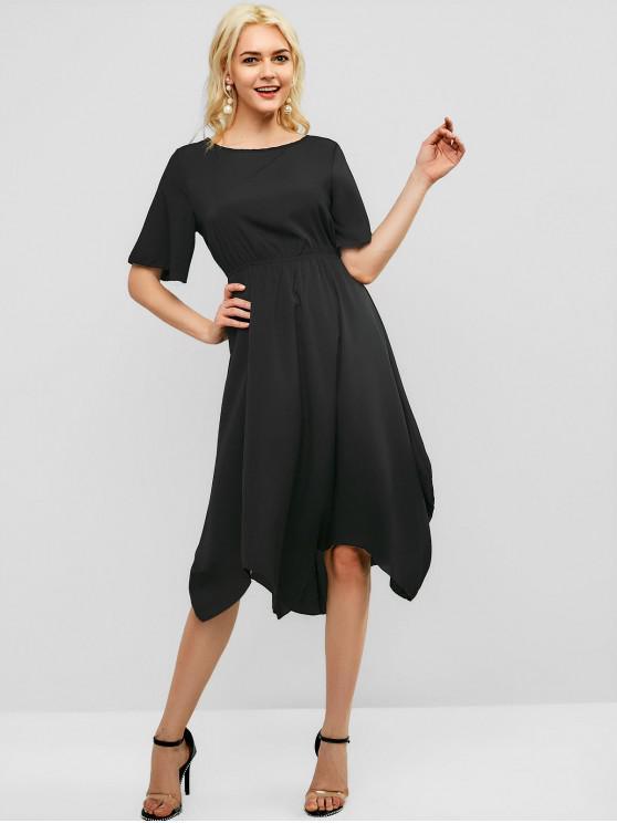 trendy Solid Casual Elastic Waist Midi Dress - BLACK L