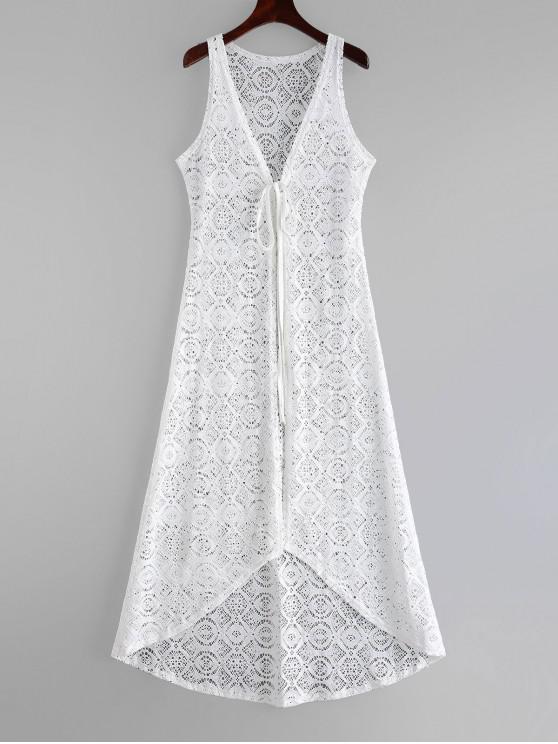Robe Couverte de Plage Nouée en Dentelle - Blanc