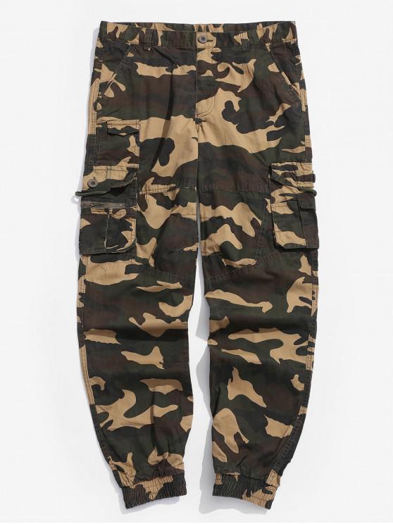 shop Camouflage Print Multi-pocket Jogger Pants - MULTI 38