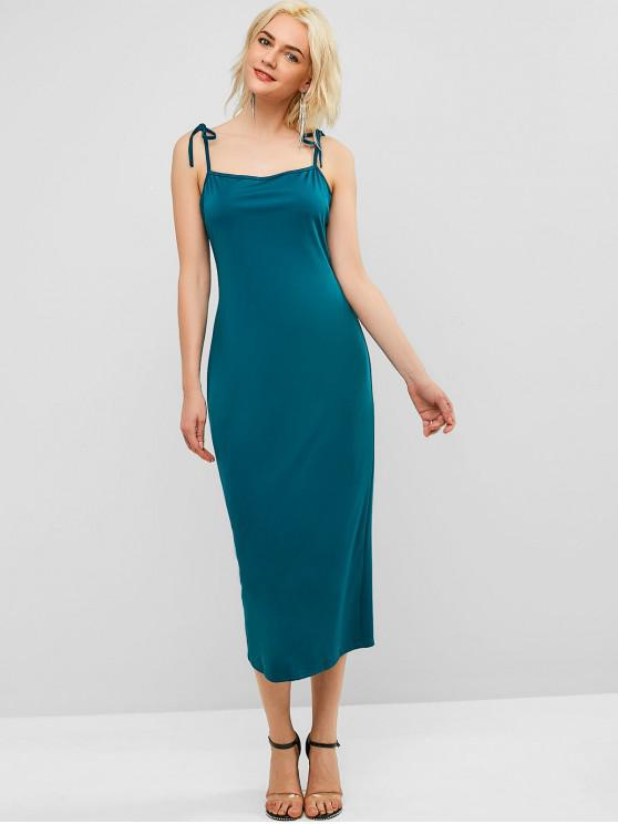 fashion Back Slit Cami Pencil Dress - GREENISH BLUE L
