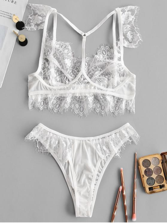 ladies Floral Lace Bra Set - WHITE L