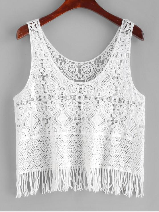 buy Fringed Crochet Tank Top - WHITE ONE SIZE
