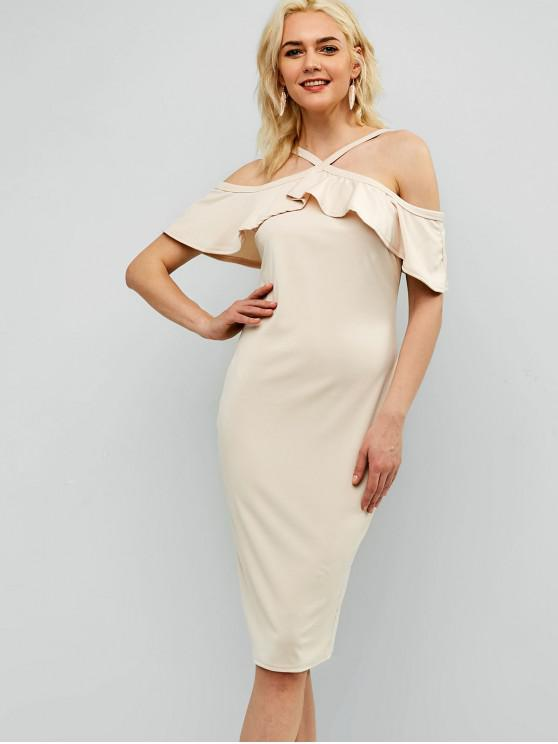 online Ruffles Cold Shoulder Bodycon Dress - APRICOT M
