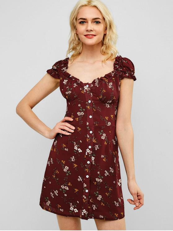 Mini-Robe Fleurie Boutonnée à Volants - Rouge Vineux M