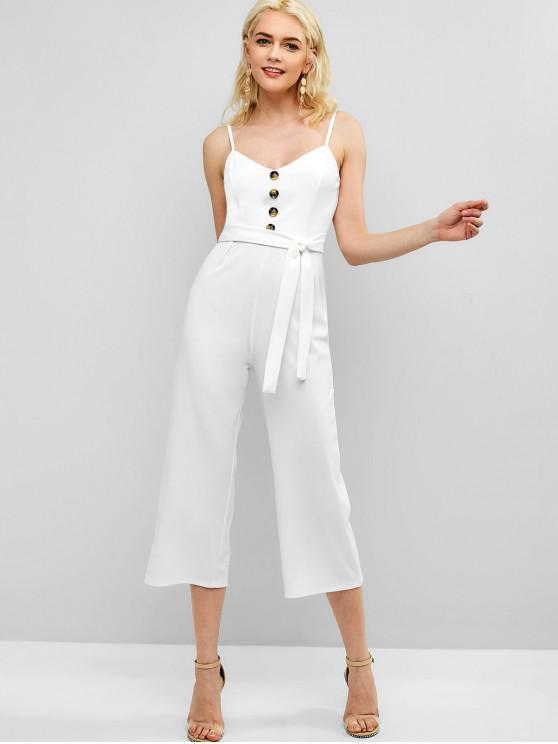 new Cami Buttoned Wide Leg Jumpsuit - WHITE XL