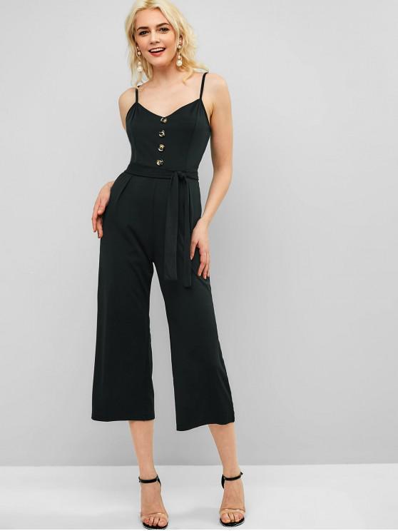 chic Cami Buttoned Wide Leg Jumpsuit - BLACK M