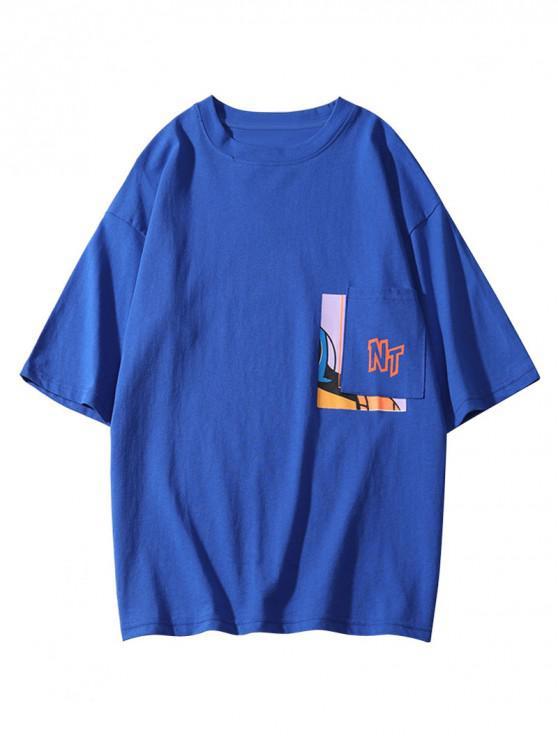 unique Graphic Print Short Sleeves Casual T-shirt - OCEAN BLUE L