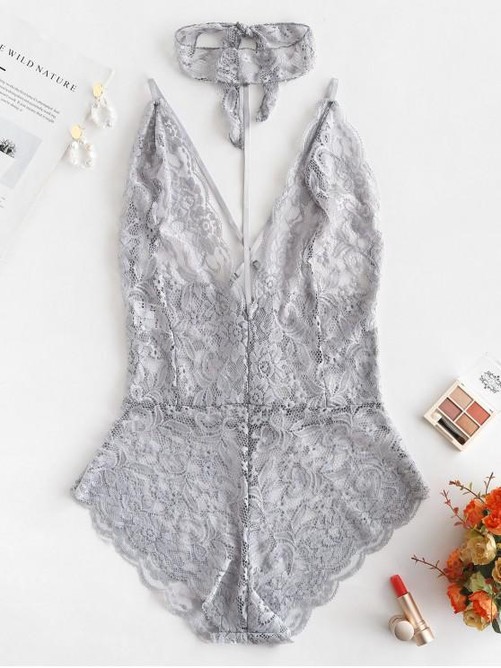 fashion Choker Crisscross Lace Teddy - GRAY CLOUD XL