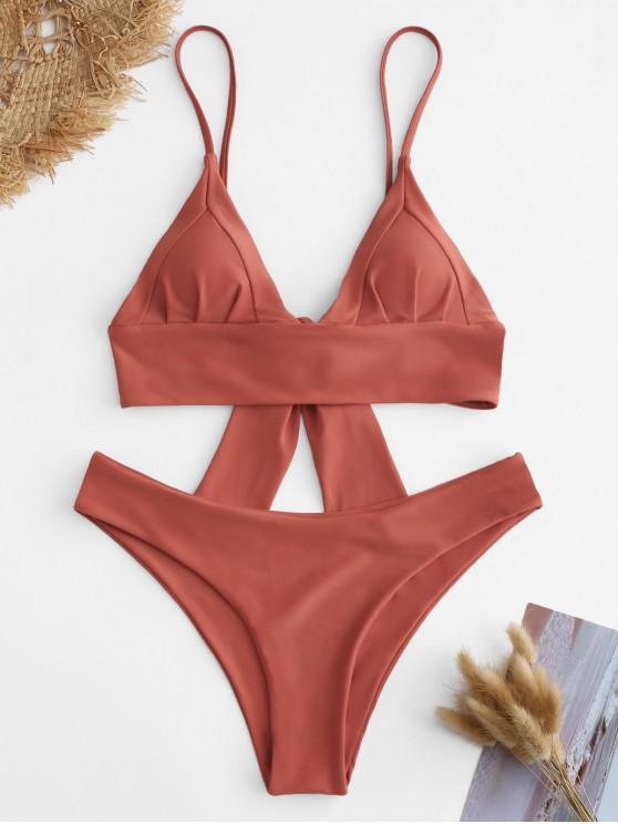 women's ZAFUL Knot Cami Straps Bikini Set - CHOCOLATE S