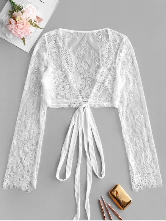 chic Eyelash Lace Tie Sheer Top - WHITE M